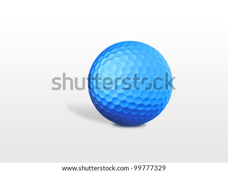 a blue golf ball isolated on white background - stock photo