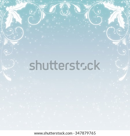 A blue gradient background with small white snowflakes, flourishes and holly.
