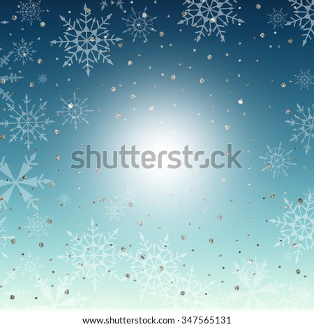 A blue gradient background with snowflakes and glittery sparkles.