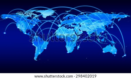 A blue, high detail illustration of a world map which shows travel connections from one city to another. - stock photo