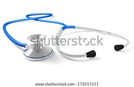 A blue isolated stethoscope rests on white background - stock photo