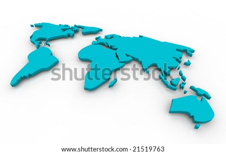 A blue map of the world floating on a white background