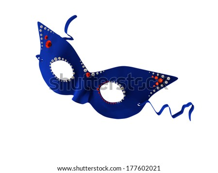 A blue mask decorated with pears and red rhinestones. - stock photo