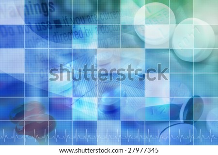 A blue medical or pharmaceutical background for medicine. There are pills in the corners with a square pattern on top of the images. - stock photo