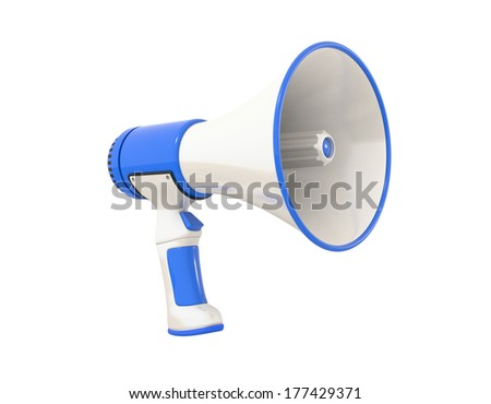 A blue Megaphone on a white background, perspective.