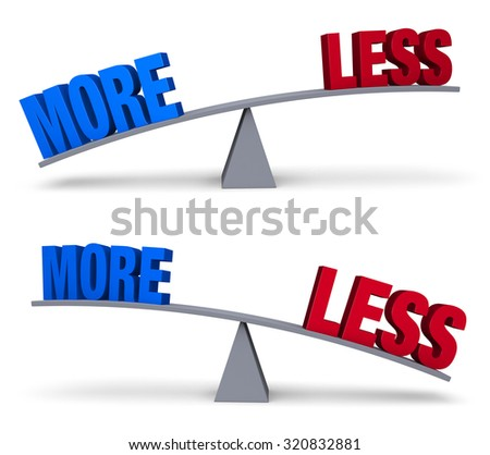 "A blue ""MORE"" and a red ""LESS"" sit on opposite ends of a gray balance board.   In one image, ""LESS"" outweighs ""MORE"" in the other, ""MORE"" outweighs ""LESS"". Isolated on white.  - stock photo"