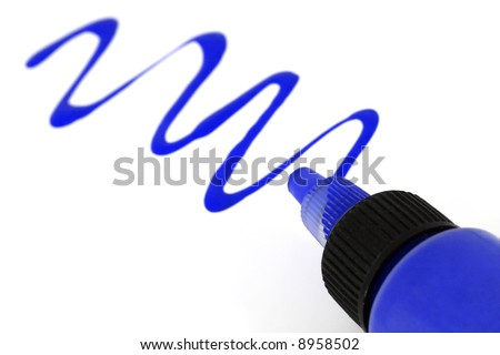A blue paint bottle with paint strokes