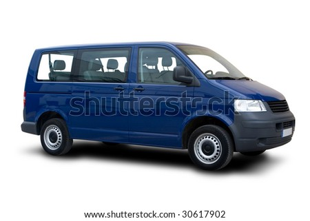 A Blue Passenger Van Isolated on White - stock photo