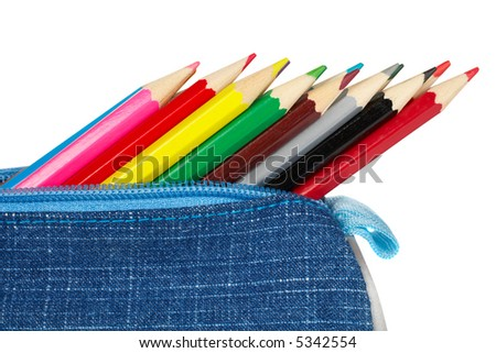A blue pencil case over a white background - stock photo