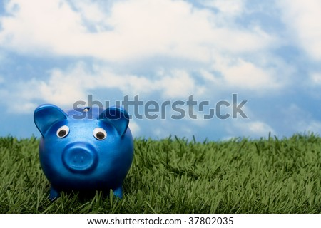 A blue piggy bank  sitting on grass with a sky blue background, savings - stock photo