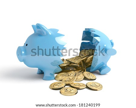 A blue piggy bank with broken within many one-dollar coins - stock photo