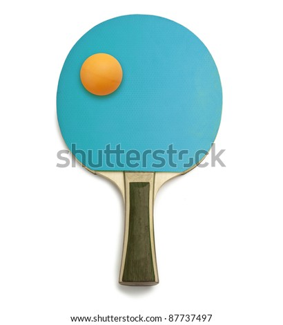 A blue ping pong paddle on a white background - stock photo