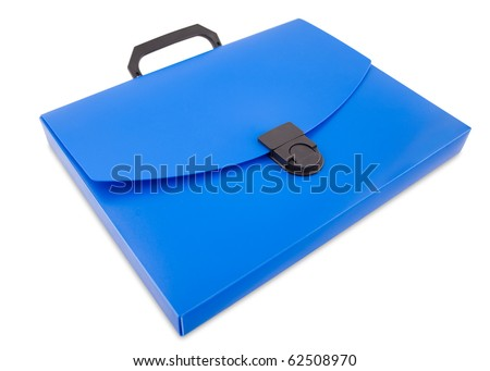 a blue plastic folder bag, clipping path - stock photo
