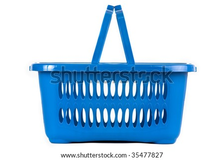 A blue plastic shopping basket on a white background, flat view - stock photo