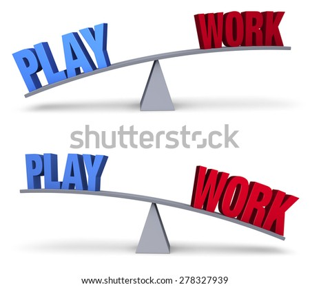 """A blue """"PLAY"""" and red """"WORK"""" sit on opposite ends of a gray balance board.  In one image, """"PLAY"""" outweighs """"WORK"""" in the other, """"WORK"""" outweighs """"PLAY"""". Isolated on white.  - stock photo"""