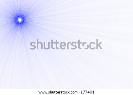 A blue point of light with rays radiating off it, against a white backdrop. - stock photo