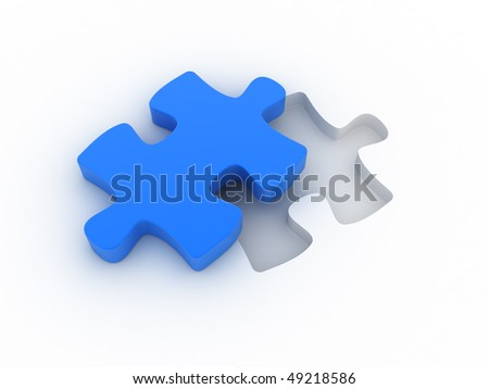 A blue puzzle is cut out of a white plane. Concept image for strategy, inspiration, organization,... - stock photo