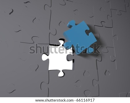 A blue puzzle piece on grey pieces - stock photo