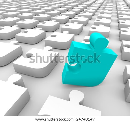 A blue puzzle piece stands out in a sea of white pieces
