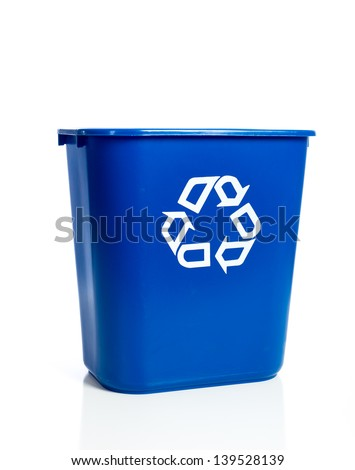 A blue recycling bin on a white background - stock photo