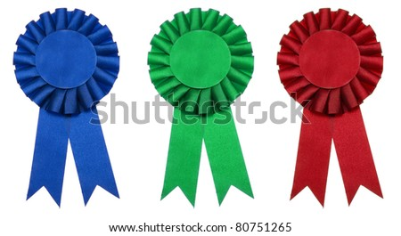 A blue, red or green ribbon is a symbol for success and first prize. - stock photo