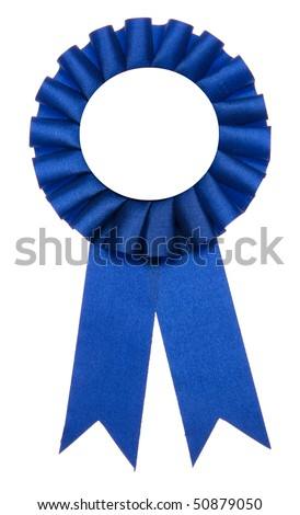 A blue ribbon is a symbol for success and first prize. - stock photo
