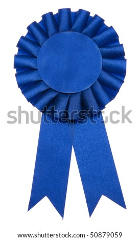 A blue ribbon is a symbol for success and first prize.