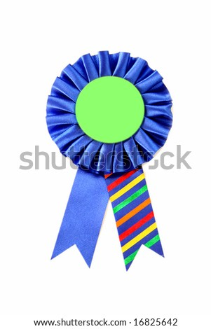 A blue ribbon  isolated on a white background.