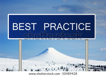 A blue road sign with white text saying best practice - stock photo