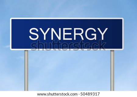 A blue road sign with white text saying synergy