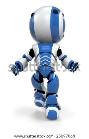 A blue robot rising up, as if he has suddenly become weightless.