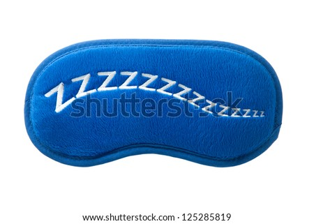 a blue satin sleep mask isolated on a white background - stock photo