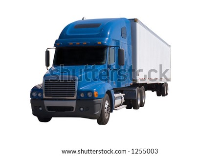A blue semi truck with a white trailer attached. Isolated on a white background. Clipping path included.