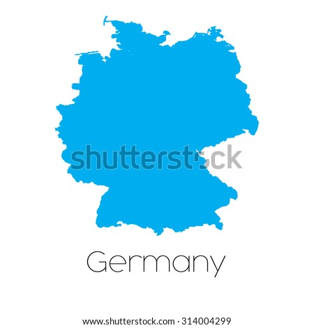 A Blue shape with name of the country of Germany - stock photo