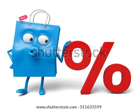 A blue shopping bag and a percent sign