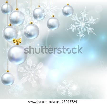 A blue silver abstract snowflakes snow flakes Christmas bauble decoration ornaments festive winter design background. - stock photo