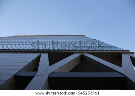 A blue sky and building