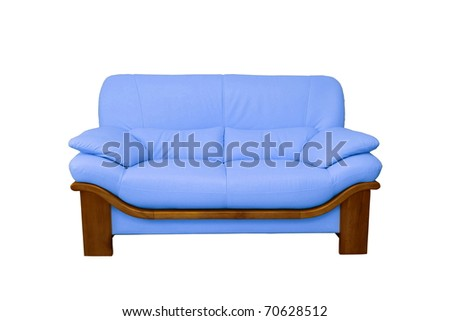 a blue sofa isolated on white