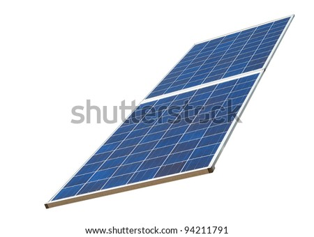 A blue solar panel isolated white - stock photo