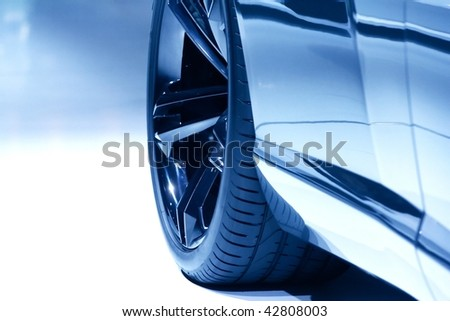 a blue sport design car - stock photo