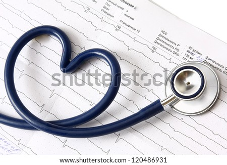A blue stethoscope on a cardiogram