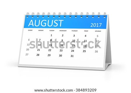 A blue table calendar for your events 2017 august - stock photo