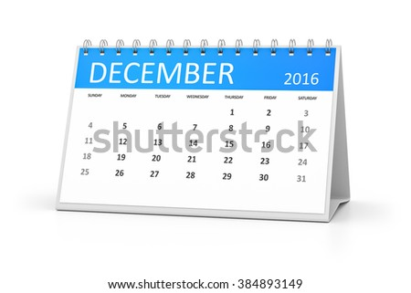 A blue table calendar for your events 2016 december