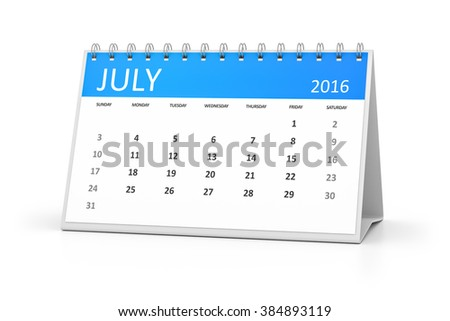 A blue table calendar for your events 2016 july - stock photo