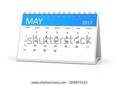 A blue table calendar for your events 2017 may - stock photo