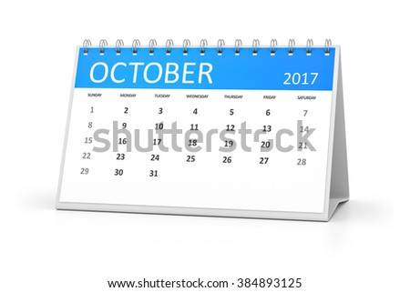 A blue table calendar for your events 2017 october