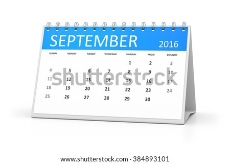 A blue table calendar for your events 2016 september