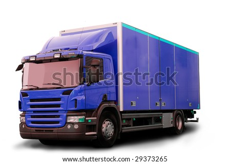 A blue tractor truck isolated on white - stock photo