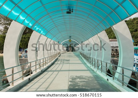 A Blue Translucent roof walkway at Samed Island east of Thailand