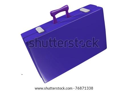 a blue travel bag on white - stock photo